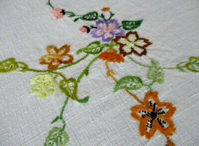 VINTAGE TABLECLOTH HAND EMBROIDERED with SMALL FLOWERS