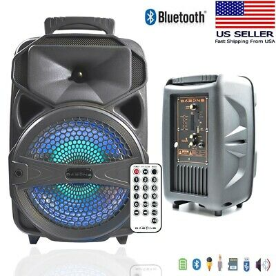 "8"" BT Party Speaker System Bluetooth Big Led Portable Stereo Tailgate Loud USA"