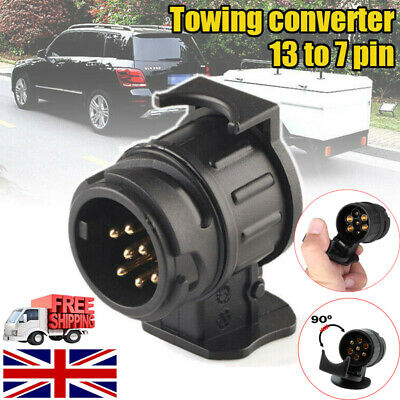 Trailer Truck 13 to7 Pin Socket Electric Towing Converter Tow Bar Plug Adaptor