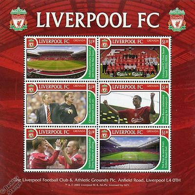 LIVERPOOL Football Club Stamp Sheet (2002 Grenada) (Anfield/The Kop/Houllier)