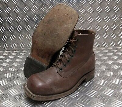 Genuine Vintage Leather Laced 1960's Brown 7 Hole Leather Sole Boots Size Eur 43