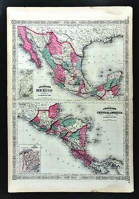 1867 Johnson Map Mexico & Central America Panama Costa Rica Guatemala Yucatan