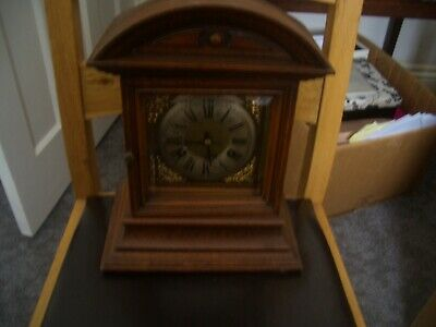 Vintage Oak Cased Mantle Clock Good Working Order From A Local Boot Fair