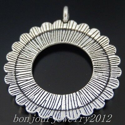 50347 Vintage Silver Alloy Round Hollow Gear Pendants Charms Crafts Findings 10x