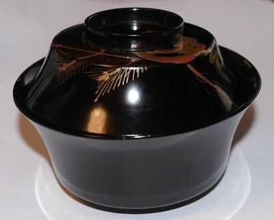 SUPERB JAPANESE URUSHI LACQUER LIDDED BOWL w MATSU PINE & TAMA JEWEL DESIGN