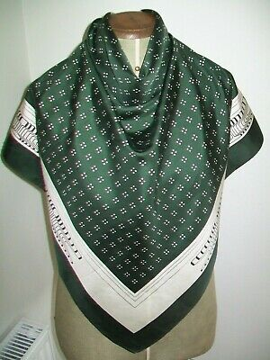 Very Smart Gents 1960's Graphic Print Vintage Silk Scarf In British Racing Green