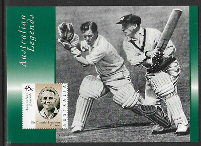 AUSTRALIA 1997 SIR DON BRADMAN Batting CRICKET LEGEND POSTCARD