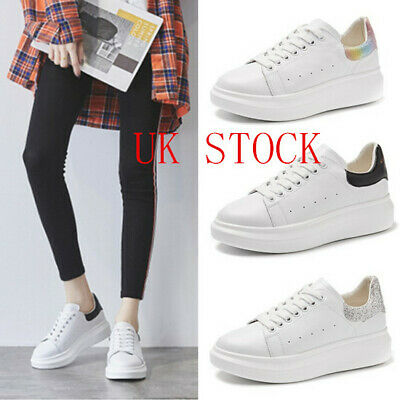 Womens Chunky Lace Up Trainers Sports Running Comfy Ladies Shoes 2.5-9 UK SELLER