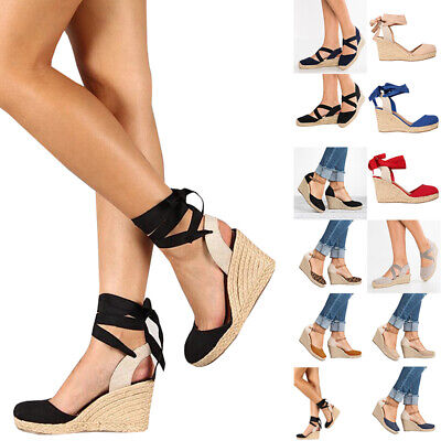 c888d36b891 NEW WOMENS ETHNIC Wedge Mid Heel Sandals Ankle Strap Espadrille ...