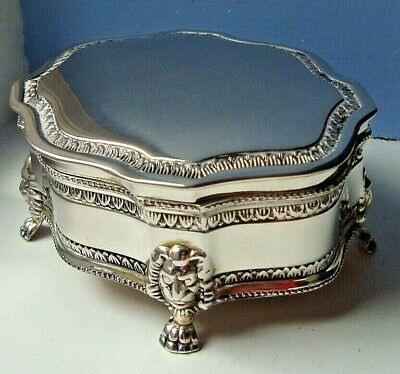 """International Silver Company"" silver-plated lidded trinket box, lion's paw feet"