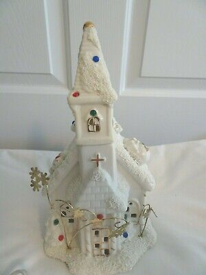 Vintage Bisque Lighted House-Christian Church-Christmas Village-New Bulb/Cord