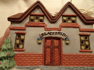 Vintage Bisque Lighted House-Blacksmith  Shop-Christmas Village-On/Off Switch