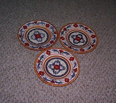 "3 Tabletops Gallery Italiano 8 1/2"" Hand Painted & Crafted Salad Plates"