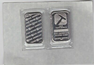 Sealed Pan American One Troy Ounce .999 Fine Silver Bar Mint Condition