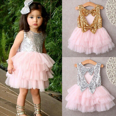 Baby girl sequins dress bow lace tulle tutu cake dress gown UK