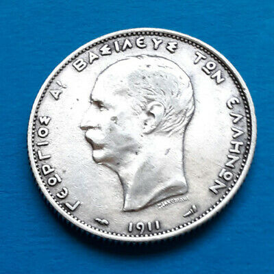 Greece Silver Coin - 1911 - 2 Drachmai - Georgios A King of Greece
