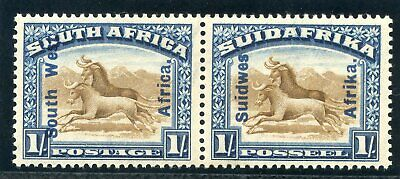 South West Africa 1927 KGV 1s brown & blue bilingual pair MLH. SG 51. Sc 90.