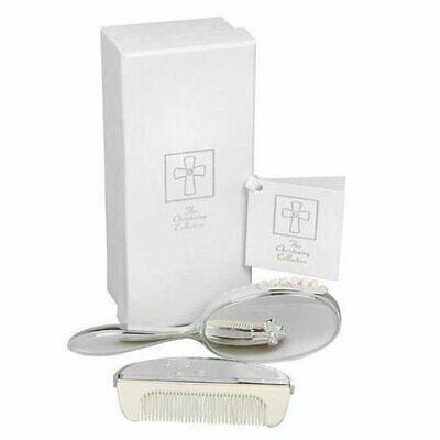 Silver Plated Baby Brush & Comb Gift Set Box Cross  Design Christening Gift