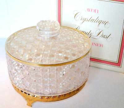 Avon CRYSTALIQUE BEAUTY DUST CONTAINER 1971 gold footed plastic container NOS