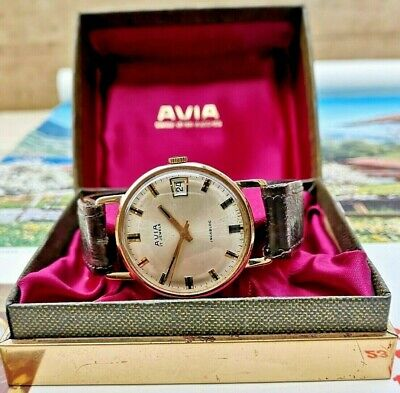 Vintage AVIA 9ct Gold 17 Jewel Hand Winding Circa 1971 Mans Watch Boxed Superb