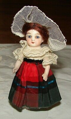 """Antique All Bisque German Doll 4"""" Blue Glass Eyes 4473"""