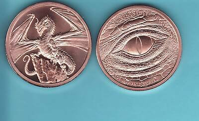 """RED WELSH DRAGON""   design   1 oz. Copper Round Coin   #2   NEW  DRAGON SERIES"