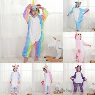 Kids Boy/Girls Rainbow Unicorn Kigurumi Animal Cosplay Pajamas Costume Sleepwear