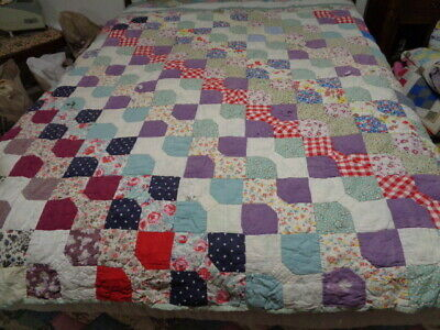 """VtG Ant Old Cotton Feedsack QUILT Patchwork Cutter 70"""" X 88"""""""