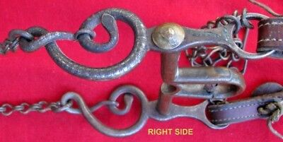Rare Antique Kid's Set Silver Inlaid Rattlesnake Pony Size Bit Headstall & Reins