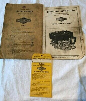 Vintage Briggs & Stratton Engine Operating Instructions Booklet Model 6B-H 6B-HF