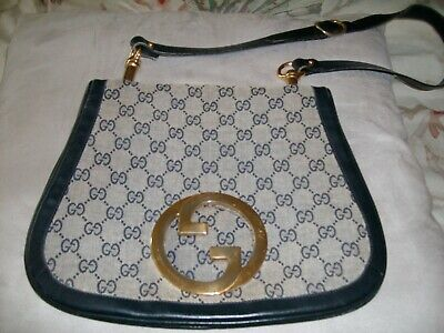 e02e31a3562e RARE Vintage Gucci Designer Shoulder Bag Cloth Authentic w Gold Hardware