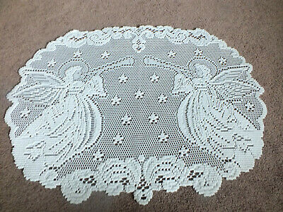 """Beautiful Heritage Lace Doily White Christmas Angels Horns 20 x 14"""" WOW"""