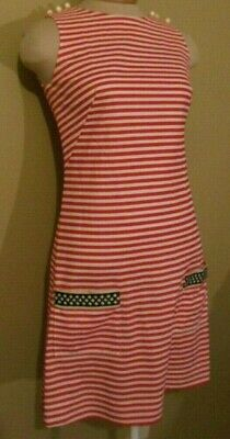 ed10d7e3e68f Womens Vintage Red White Stripe Sleevless Knit Dress Gay Gibson 9 *3 Days  Only*