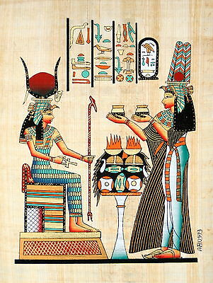 "Egyptian Papyrus - Hand Made - 9"" x 13"" - Queen Nefertari Offering To Isis"