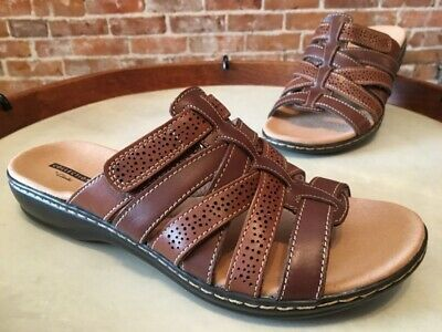 9b6bc1220b Clarks Brown Multi Leather Leisa Field Strappy Slide Sandal 9 W New