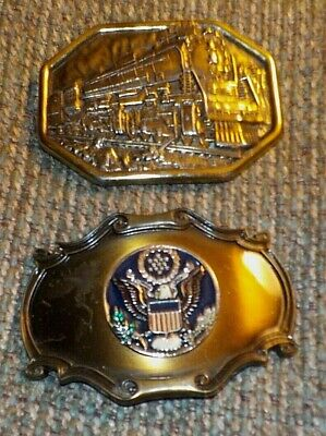 Lot of 2 vintage belt buckles, 13 Colonies, American Eagle,1978 Avon steam train