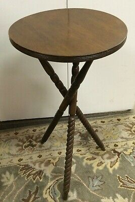 Antique Walnut Carved Wood Barley Twist 3 Leg Plant Stand English Side Table
