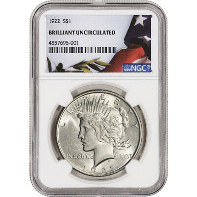 1922 US Peace Silver Dollar $1 - NGC Brilliant Uncirculated