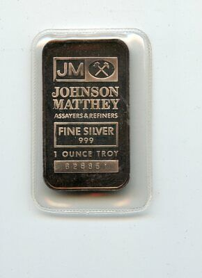 Sealed Johnson Matthey 1 TROY OZ SILVER  Bar (.999 Fine Silver)