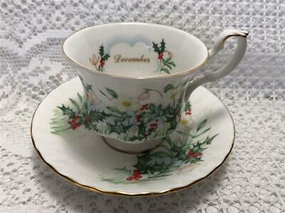 Royal Albert Wild Flower of The Month DECEMBER Tea Cup and Saucer Set