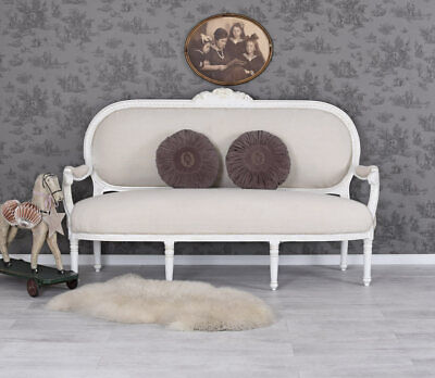 Sofa Baroque Bench White Couch Antique Vintage Upholstered Sofa