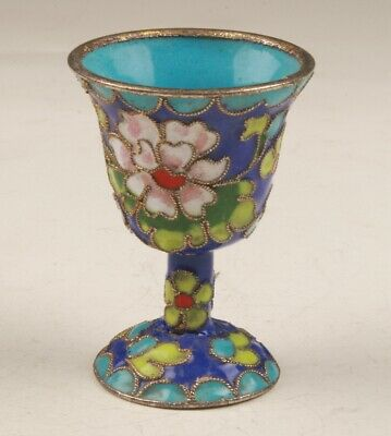 Cloisonne Old Chinese Handmade Art Glass Wine Cup Goblet