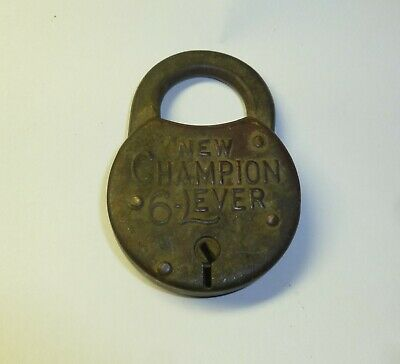 Antique Padlock Champion 6 Lever Miller Lock Co. Phila / Brass No Key