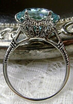 5ct *Aquamarine* Sterling Silver Edwardian c.1910 Filigree Ring {Made To Order}