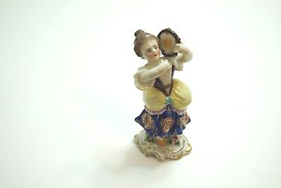 "Antique Dresden German Porcelain Figurine Of Lady With Instrument 4"" Tall"