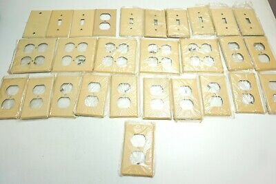 Lot Of 24 Vintage New / Nos Tan Colored Metal Outlet Covers In Plastic + 4 Bonus
