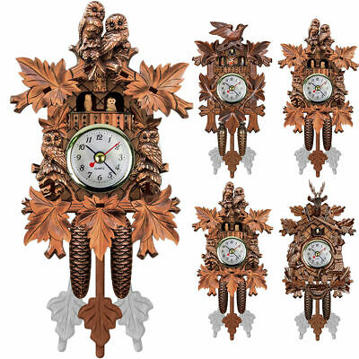 Wall Wall Clock Handcraft Wood Cuckoo House Style Art Home Room Hanging Retro