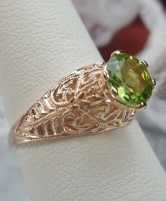 Natural Peridot Sterling Silver & Rose Gold Deco Filigree Ring {Made To Order}