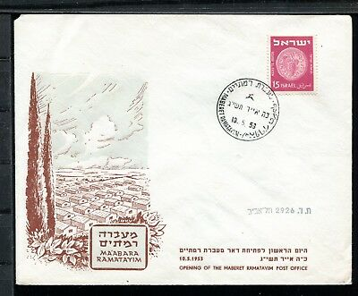 Israel Cover Post Office Opening of Maberet Ramatayim 10.5.1953. x21098