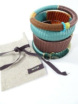 Lee Angel Teal Brown Wrapped Mixed Stackable Bangle Bracelet Set NWT $110